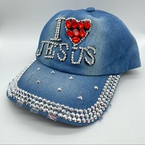 I ❤️ Jesus Bling Denim Baseball Cap